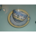 POOLE POTTERY BEACH HUTS 1 ORIGINAL SOPER LANE  Cup and Saucer